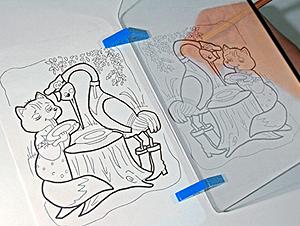 Сквозь экран можно увидеть и свою руку и копируемый рисунок